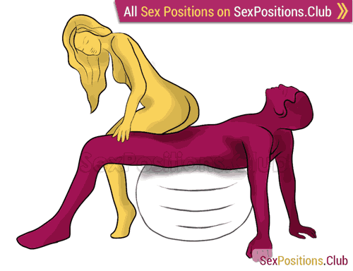 Sex position #251 - Soft landing (on the ball). (anal sex, cowgirl, woman on top, from behind). Kamasutra - Photo, picture, image