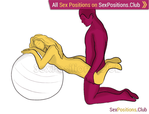 Sex position #352 - Weightlessness (on the ball). (from behind, rear entry, kneeling). Kamasutra - Photo, picture, image