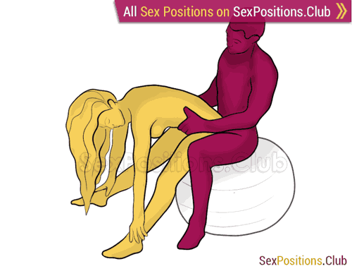 Sex position #329 - Holder (on the ball). (anal sex, from behind, rear entry, sitting, standing). Kamasutra - Photo, picture, image