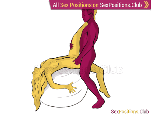 Sex position #443 - Stuntman (on the ball). (right angle, standing). Kamasutra - Photo, picture, image