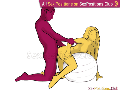 Sex position #374 - Inseminator (on the ball). (anal sex, doggy style, from behind, rear entry, kneeling). Kamasutra - Photo, picture, image