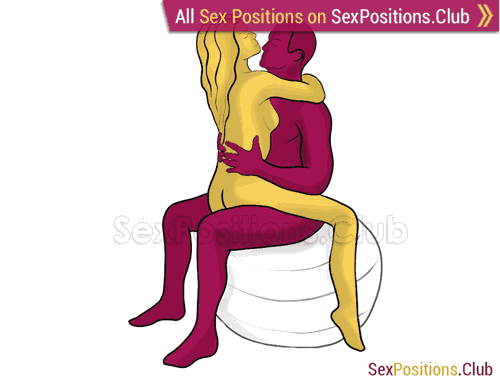 Sex position #342 - Silence (on the ball). (woman on top, face to face, sitting). Kamasutra - Photo, picture, image