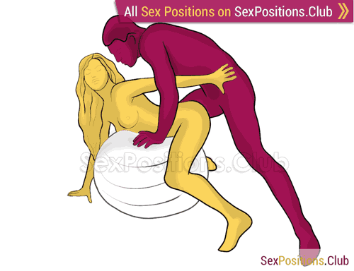 Sex position #388 - Need for Speed (on the ball). (anal sex, doggy style, from behind, rear entry, standing). Kamasutra - Photo, picture, image