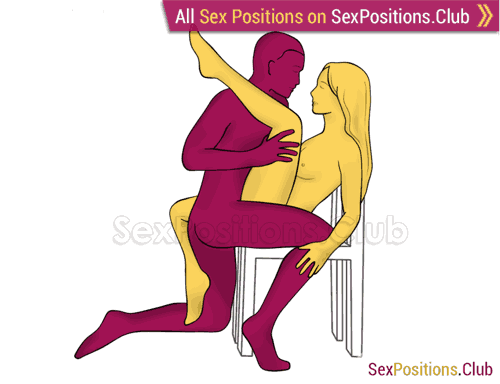 Sex position #355 - Bowstring (on the chair). (face to face, kneeling). Kamasutra - Photo, picture, image