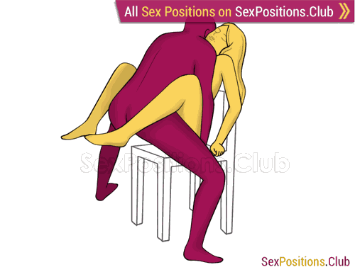 Sex position #451 - Сounterblow (on the chair). (face to face, standing). Kamasutra - Photo, picture, image