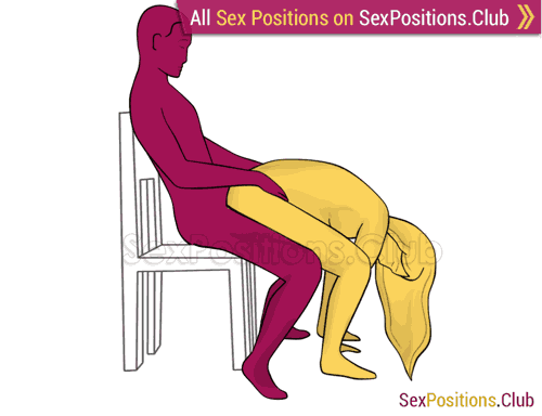 Sex position #369 - Milk chocolate (on the chair). (anal sex, from behind, rear entry, sitting). Kamasutra - Photo, picture, image