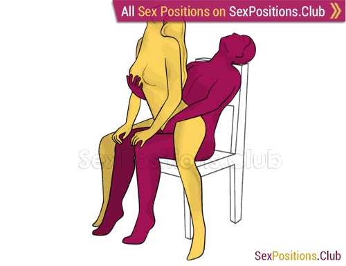 Sex position #267 - Zeal (on the chair). (anal sex, woman on top, from behind, sitting). Kamasutra - Photo, picture, image