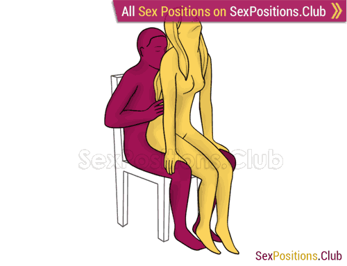 Sex position #376 - Fairy (on the chair). (anal sex, woman on top, from behind, sitting). Kamasutra - Photo, picture, image