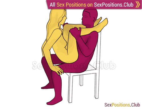 Sex position #362 - Сourtesan (on the chair). (anal sex, woman on top, face to face, sitting). Kamasutra - Photo, picture, image