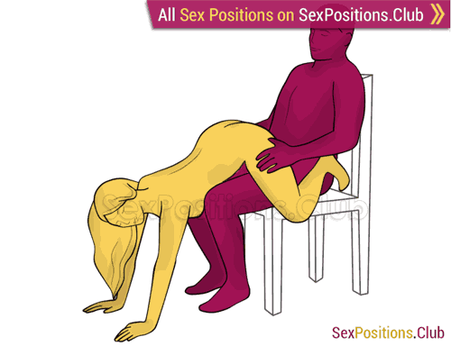 Sex position #319 - Watermelon (on the chair). (from behind, rear entry, sitting). Kamasutra - Photo, picture, image