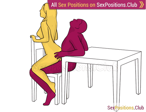 Sex position #418 - Delicacy (on the chair). (anal sex, woman on top, from behind, sitting). Kamasutra - Photo, picture, image
