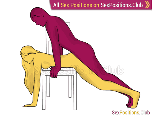 Sex position #457 - Hameleon (on the chair). (anal sex, doggy style, from behind, rear entry). Kamasutra - Photo, picture, image