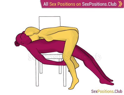 Sex position #462 - Hill (on the chair). (woman on top, face to face, standing). Kamasutra - Photo, picture, image