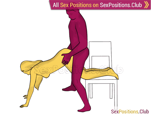 Sex position #466 - Satyr (on the chair). (doggy style, from behind, rear entry, standing). Kamasutra - Photo, picture, image