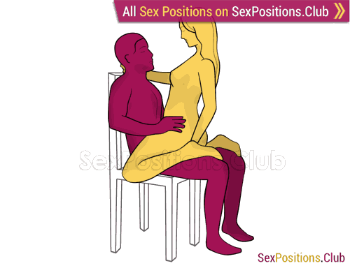 Sex position #439 - Cowgirl on the chair. (woman on top, face to face, sitting). Kamasutra - Photo, picture, image