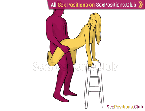 Sex position #487 - Apex (on the chair). (from behind, rear entry, standing). Kamasutra - Photo, picture, image