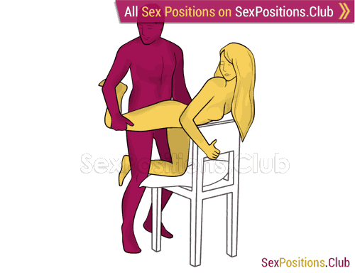 Sex position #478 - Exciting game (on the chair). (doggy style, from behind, rear entry, standing). Kamasutra - Photo, picture, image