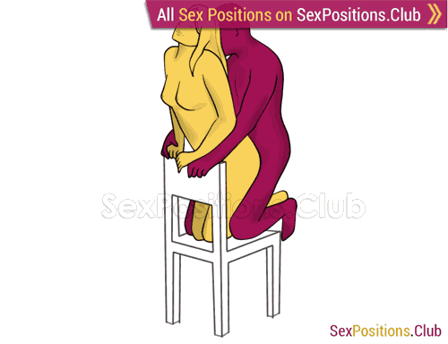Sex position #307 - Desert island (on the chair). (anal sex, from behind, rear entry, kneeling). Kamasutra - Photo, picture, image