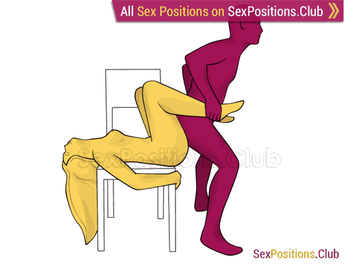 Sex position #390 - Playboy (on the chair). (reverse, standing). Kamasutra - Photo, picture, image