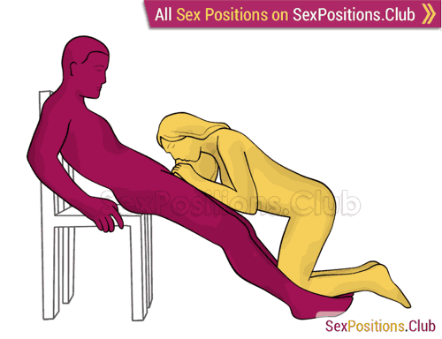 Sex position #490 - Snake charmer (on the chair). (oral sex, blowjob, kneeling). Kamasutra - Photo, picture, image