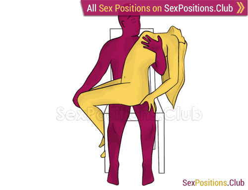 Sex position #346 - Spanish guitar (on the chair). (woman on top, criss cross, sitting). Kamasutra - Photo, picture, image