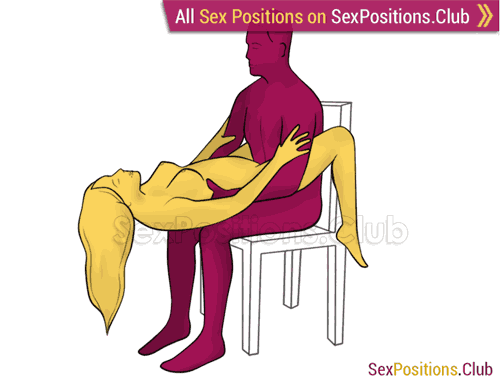 Sex position #397 - Abyss (on the chair). (right angle, sitting). Kamasutra - Photo, picture, image