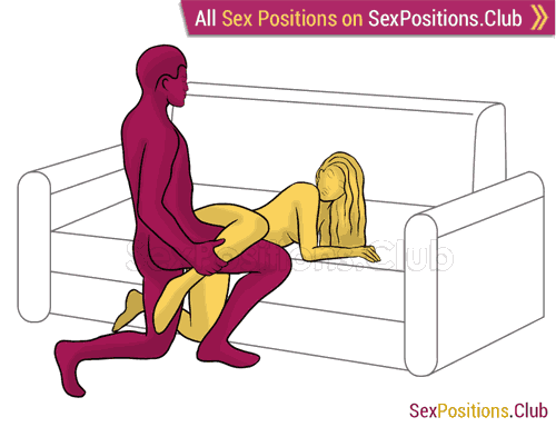 Sex position #458 - Jack (on the couch). (doggy style, from behind, rear entry, kneeling). Kamasutra - Photo, picture, image