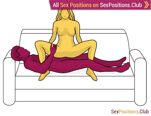Sex position #398 - Night-fly (on the sofa). (anal sex, woman on top, criss cross). Kamasutra - Photo, picture, image