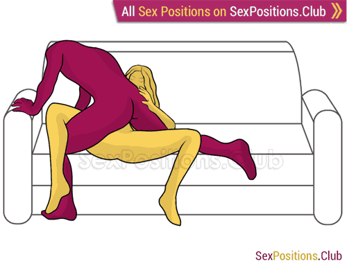 Sex position #412 - Adventurer (on the sofa). (man on top). Kamasutra - Photo, picture, image