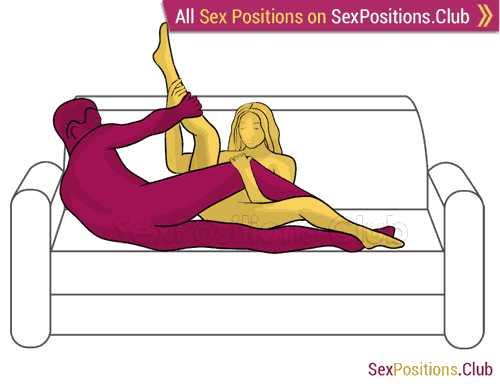 Sex position #257 - Hostage (on the couch). (anal sex, criss cross, sideways, lying down). Kamasutra - Photo, picture, image