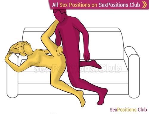 Sex position #377 - Wedge (on the couch). (anal sex, from behind, right angle). Kamasutra - Photo, picture, image