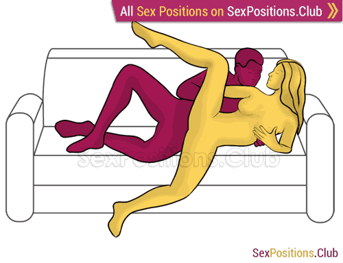 Sex position #309 - Grasshopper (on the couch). (anal sex, from behind, rear entry, sideways, spooning, lying down). Kamasutra - Photo, picture, image