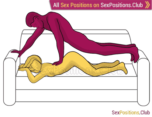 Sex position #446 - Bomb (on the couch). (anal sex, from behind, rear entry, man on top). Kamasutra - Photo, picture, image
