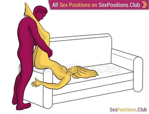 Sex position #485 - Descent (on the sofa). (anal sex, from behind, right angle, standing). Kamasutra - Photo, picture, image