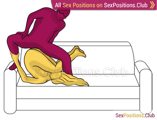 Sex position #440 - Thor's hammer (on the sofa). (man on top, reverse, standing). Kamasutra - Photo, picture, image