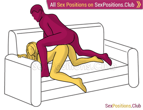 Sex position #363 - Young stallion (on the couch). (anal sex, doggy style, from behind, rear entry, man on top). Kamasutra - Photo, picture, image