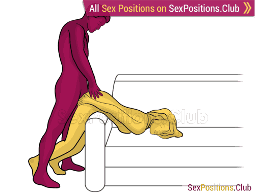 Sex position #482 - Stickman (on the couch). (anal sex, doggy style, from behind, rear entry, standing). Kamasutra - Photo, picture, image