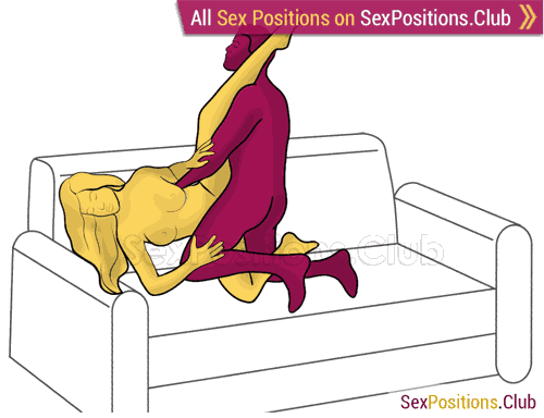 Sex position #476 - Harp (on the couch). (right angle, kneeling). Kamasutra - Photo, picture, image