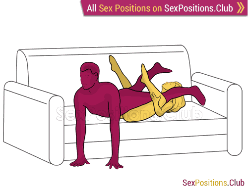 Sex position #384 - Slide (on the sofa). (reverse, man on top, lying down). Kamasutra - Photo, picture, image