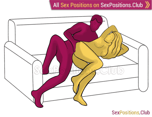 Sex position #356 - Lazy evening. (on the couch, anal sex, from behind, rear entry, sideways, lying down). Kamasutra - Photo, picture, image