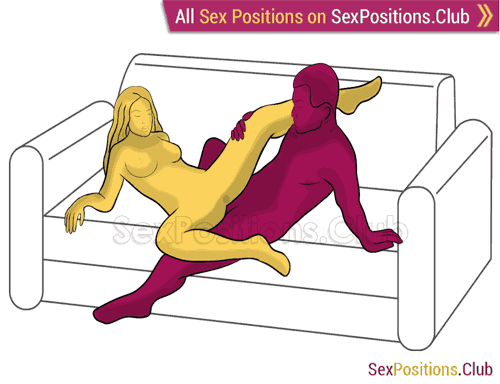 Sex position #296 - Awesome idea (on the sofa). (anal sex, right angle, sitting). Kamasutra - Photo, picture, image