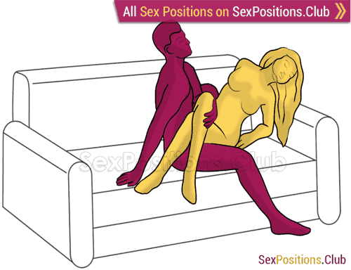 Sex position #348 - Tulip. (on the couch, right angle, sitting). Kamasutra - Photo, picture, image