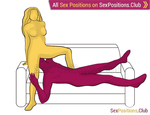Sex position #370 - Nasty desire (on the sofa). (oral sex, cunnilingus, standing, from behind). Kamasutra - Photo, picture, image