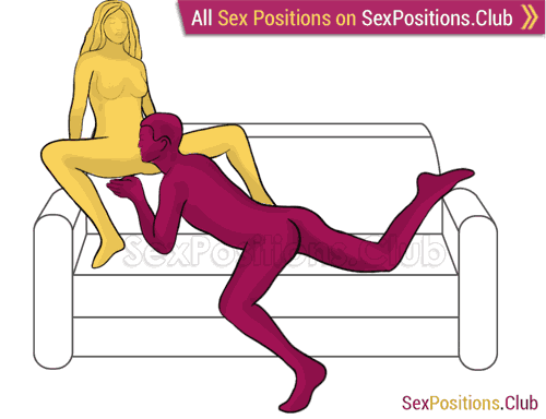 Sex position #479 - Ladies' man (on the sofa). (oral sex, cunnilingus, sitting). Kamasutra - Photo, picture, image