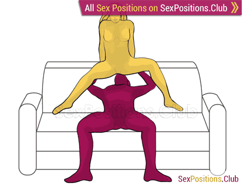 Sex position #426 - Barbie (on the sofa). (oral sex, cunnilingus, woman on top). Kamasutra - Photo, picture, image