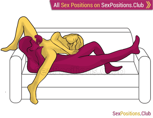 Sex position #405 - Inventive 69 (on the couch). (69 sex position, oral sex, woman on top). Kamasutra - Photo, picture, image