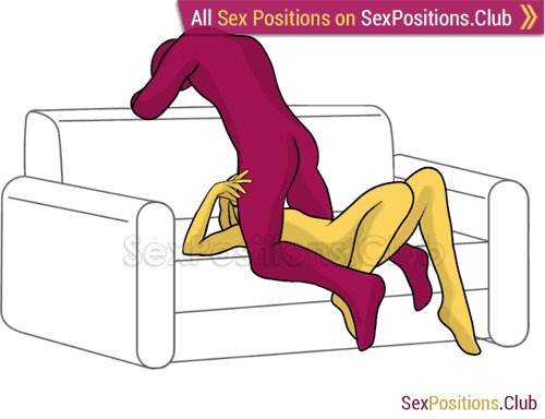 Sex position #341 - Deep throat. (on the sofa, oral sex, blowjob, kneeling). Kamasutra - Photo, picture, image