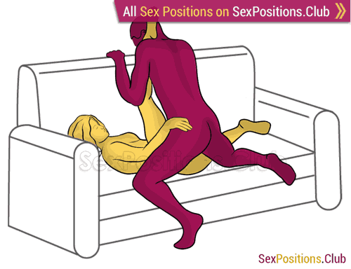 Sex position #433 - Bung (on the couch). (anal sex, from behind, right angle). Kamasutra - Photo, picture, image