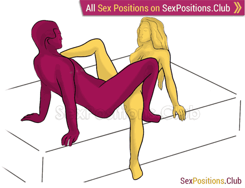 Sex position #361 - Kinky spider (on the bed). (criss cross, reverse, sitting). Kamasutra - Photo, picture, image