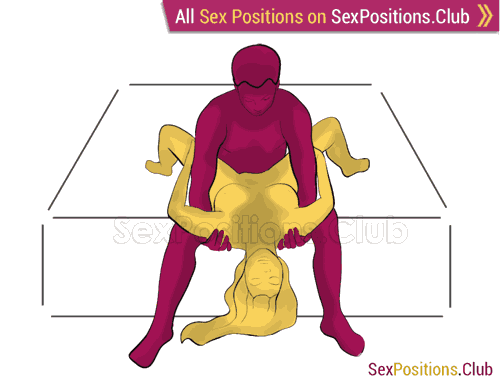 Sex position #353 - Captivity (on the bed). (right angle, sitting). Kamasutra - Photo, picture, image
